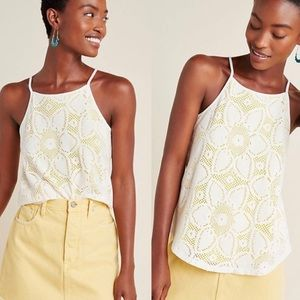 Anthropologie XS Lace Tank High Neck Floral Yellow